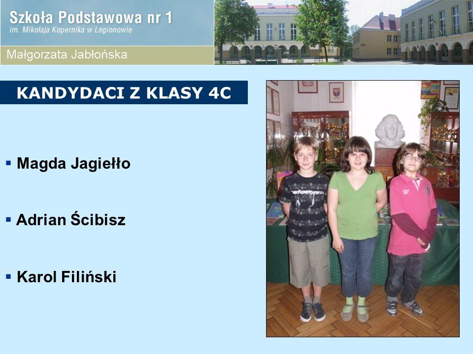 KANDYDACI Z KLASY 4C Magda Jagiełło Adrian Ścibisz Karol Filiński
