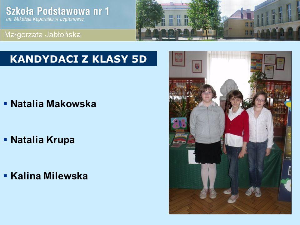 KANDYDACI Z KLASY 5D Natalia Makowska Natalia Krupa Kalina Milewska