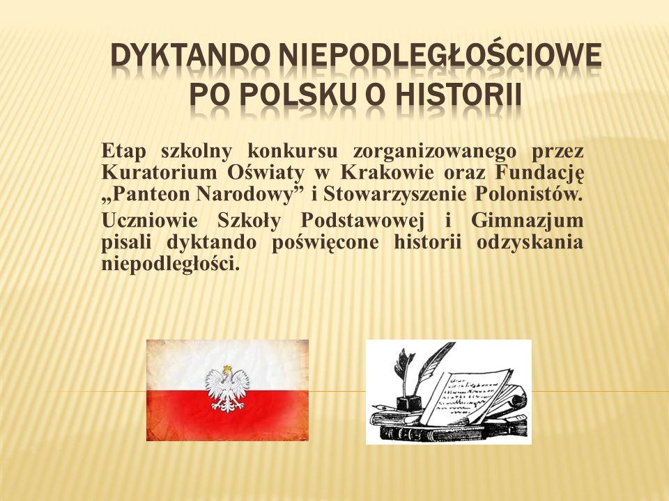 Etap szkolny konkursu zorganizowanego przez Kuratorium Oświaty w Krakowie oraz Fundację Panteon Narodowy i Stowarzyszenie Polonistów.