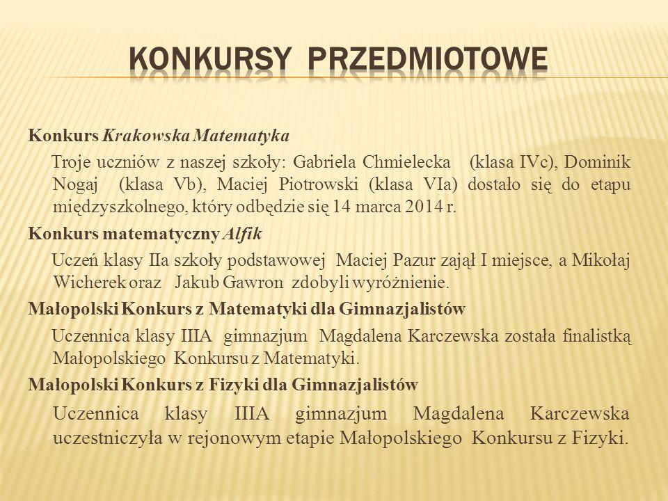 Konkurs Krakowska Matematyka Troje uczniów z naszej szkoły: Gabriela Chmielecka (klasa IVc), Dominik Nogaj (klasa Vb), Maciej Piotrowski (klasa VIa) dostało się do etapu międzyszkolnego, który odbędzie się 14 marca 2014 r.