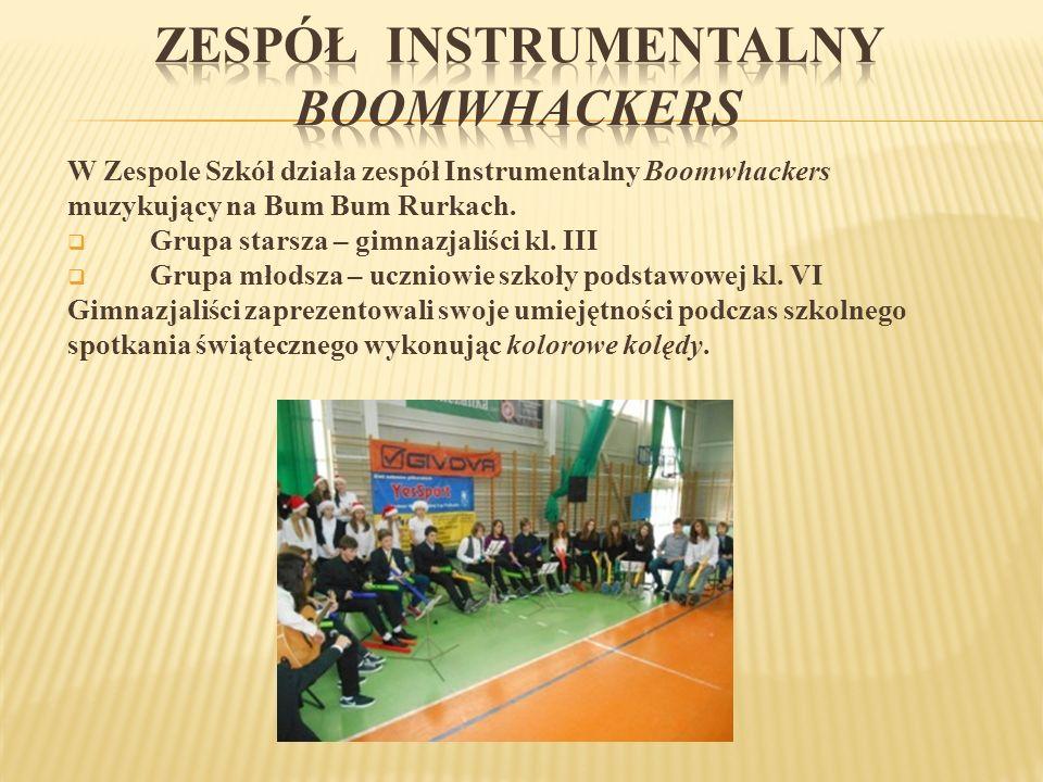 W Zespole Szkół działa zespół Instrumentalny Boomwhackers muzykujący na Bum Bum Rurkach.