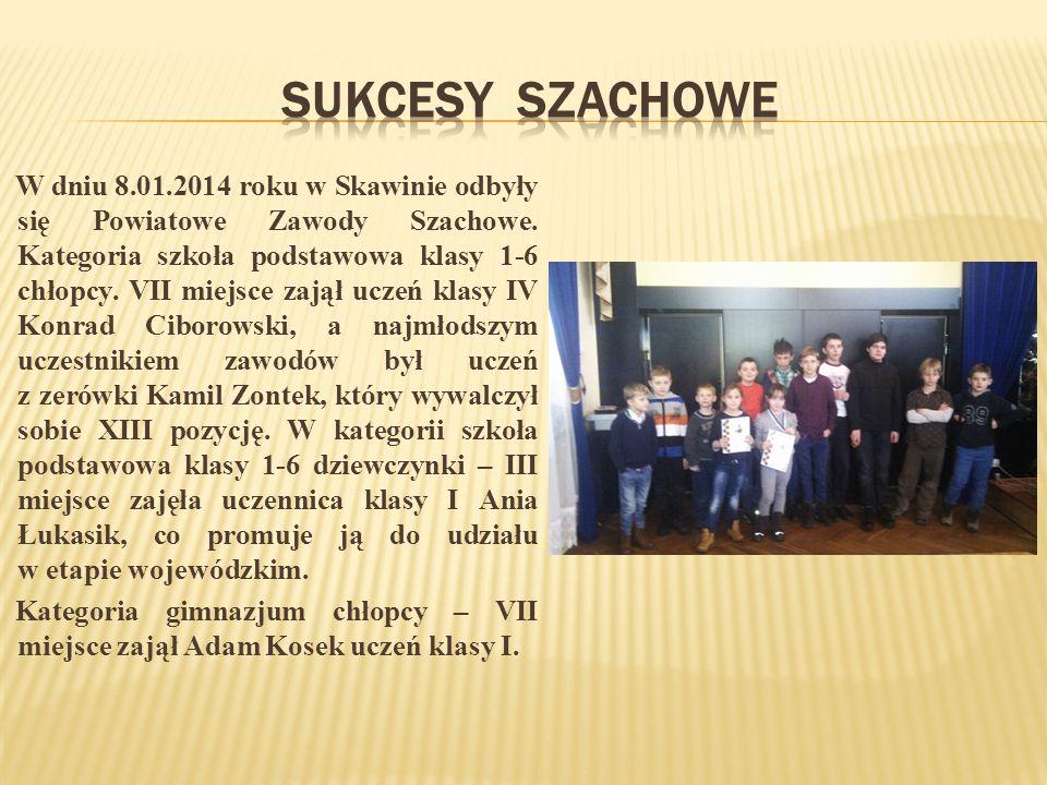 W dniu 8.01.2014 roku w Skawinie odbyły się Powiatowe Zawody Szachowe.