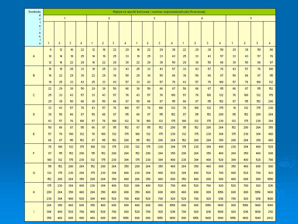 Swoboda d z i a ł a n i a Wpływ na wyniki końcowe / rozmiar odpowiedzialności finansowej 12345 12341234123412341234 A 91216221216222916222938222938502