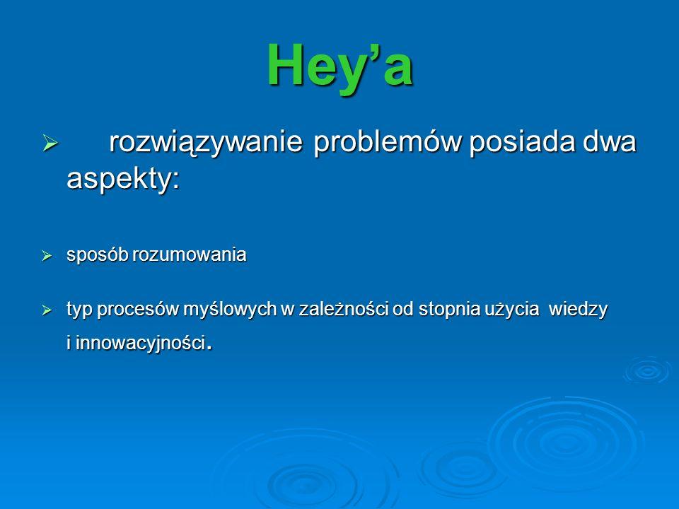 Heya rozwiązywanie problemów posiada dwa aspekty: rozwiązywanie problemów posiada dwa aspekty: sposób rozumowania sposób rozumowania typ procesów myśl