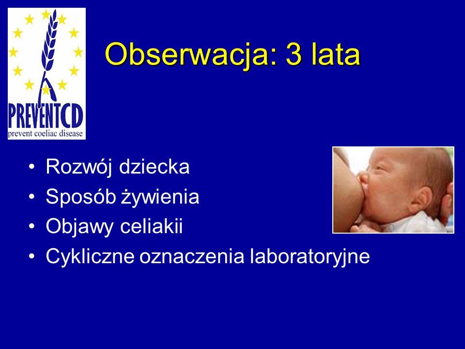 Obserwacja: 3 lata Rozwój dziecka Sposób żywienia Objawy celiakii Cykliczne oznaczenia laboratoryjne