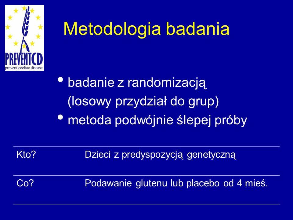 Metodologia badania badanie z randomizacją (losowy przydział do grup) metoda podwójnie ślepej próby Kto?Dzieci z predyspozycją genetyczną Co?Podawanie glutenu lub placebo od 4 mieś.