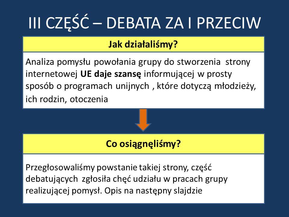 III CZĘŚĆ – DEBATA ZA I PRZECIW Analiza pomysłu powołania grupy do stworzenia strony internetowej UE daje szansę informującej w prosty sposób o progra