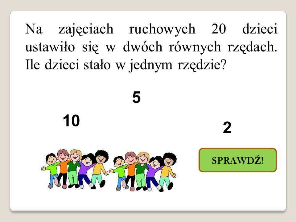 Na zajęciach ruchowych 20 dzieci ustawiło się w dwóch równych rzędach.