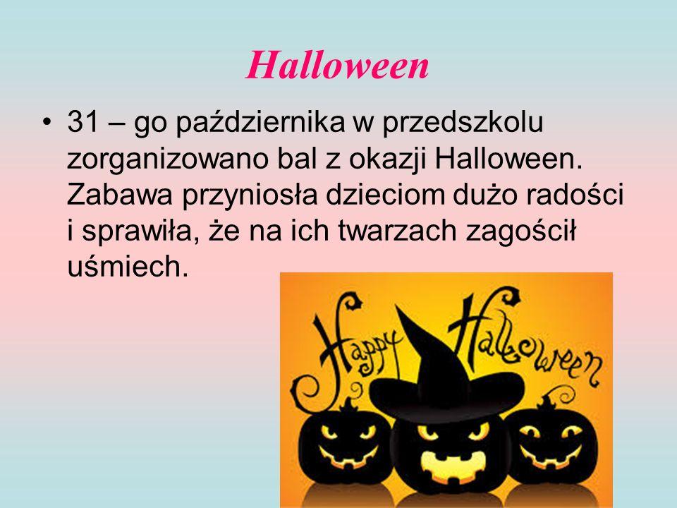 Halloween 31 – go października w przedszkolu zorganizowano bal z okazji Halloween. Zabawa przyniosła dzieciom dużo radości i sprawiła, że na ich twarz