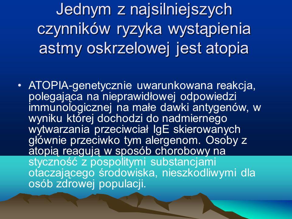 Jednym z najsilniejszych czynników ryzyka wystąpienia astmy oskrzelowej jest atopia ATOPIA-genetycznie uwarunkowana reakcja, polegająca na nieprawidło