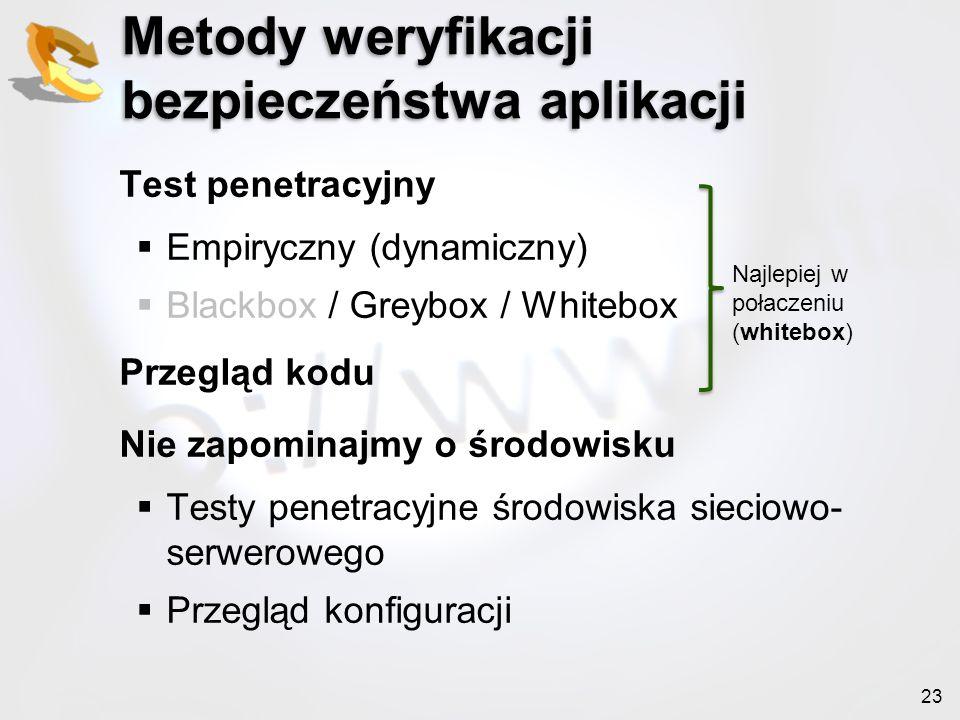 23 Metody weryfikacji bezpieczeństwa aplikacji Test penetracyjny Empiryczny (dynamiczny) Blackbox / Greybox / Whitebox Przegląd kodu Nie zapominajmy o