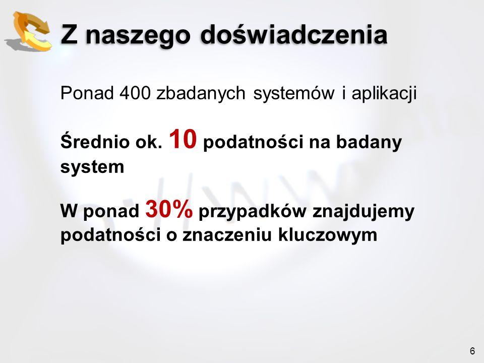 37 Zapraszam Spotkania OWASP Poland Kraków, Warszawa, Poznań https://owasp.org/index.php/Poland http://www.meetup.com/OWASP-Poland/