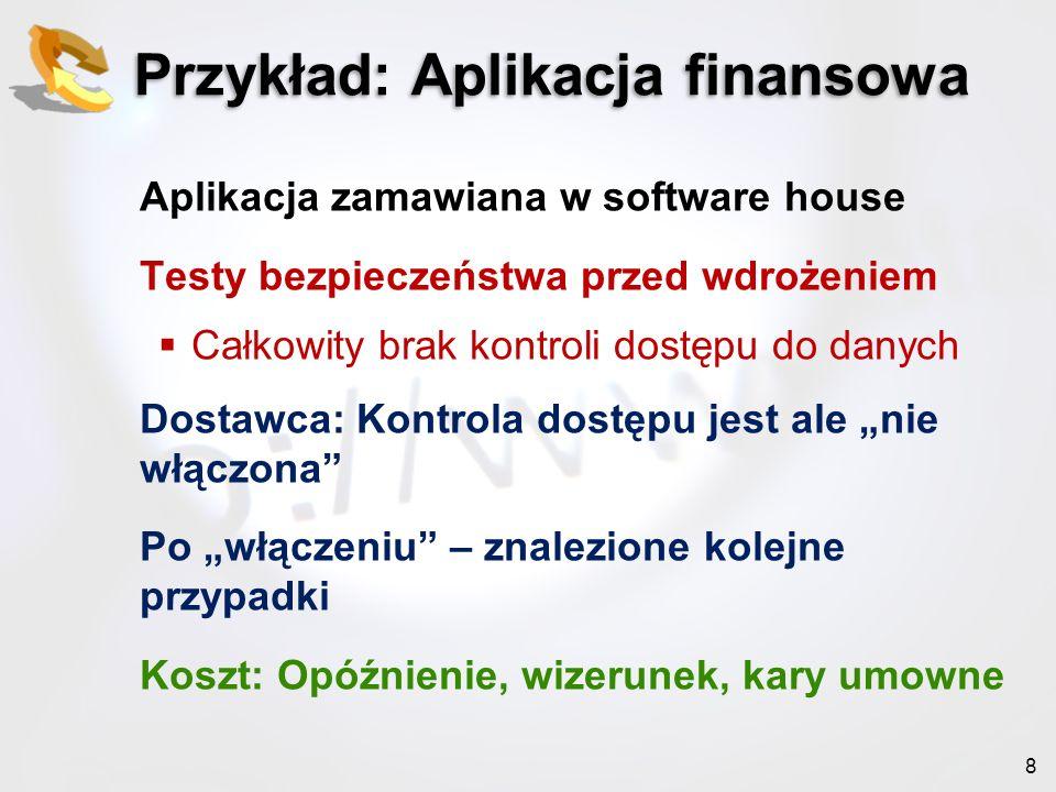 8 Przykład: Aplikacja finansowa Aplikacja zamawiana w software house Testy bezpieczeństwa przed wdrożeniem Całkowity brak kontroli dostępu do danych D