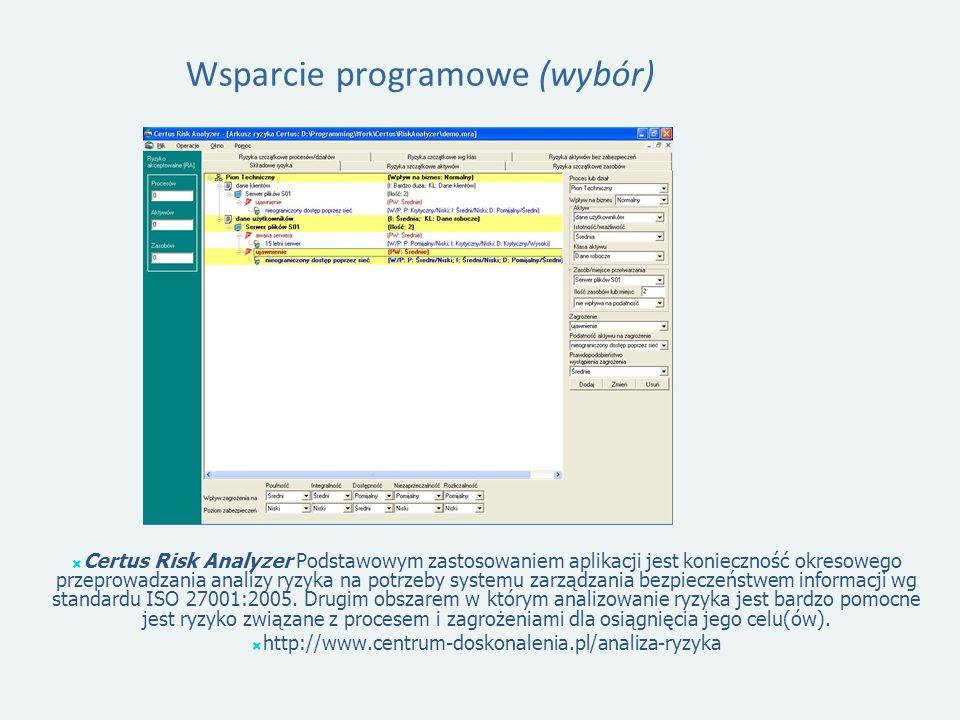 Wsparcie programowe (wybór) Certus Risk Analyzer Podstawowym zastosowaniem aplikacji jest konieczność okresowego przeprowadzania analizy ryzyka na potrzeby systemu zarządzania bezpieczeństwem informacji wg standardu ISO 27001:2005.