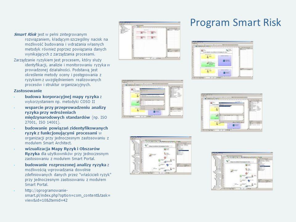 Program Smart Risk Smart Risk jest w pełni zintegrowanym rozwiązaniem, kładącym szczególny nacisk na możliwość budowania i wdrażania własnych metodyk również poprzez powiązania danych wynikających z zarządzania procesami.