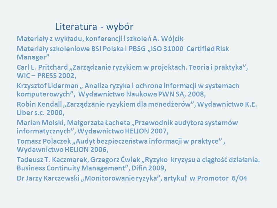 Literatura - wybór Materiały z wykładu, konferencji i szkoleń A.