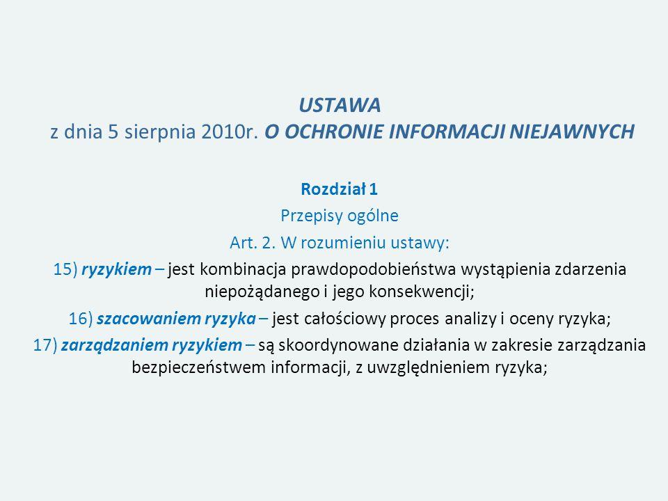 USTAWA z dnia 5 sierpnia 2010r.O OCHRONIE INFORMACJI NIEJAWNYCH Rozdział 1 Przepisy ogólne Art.