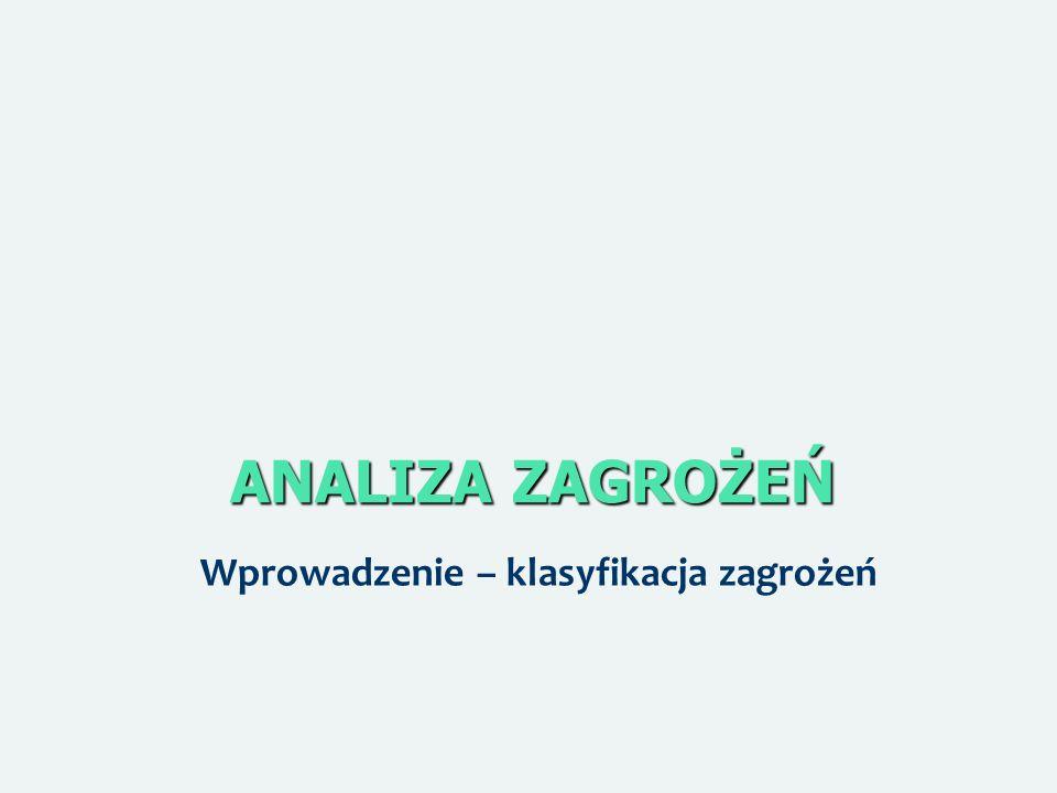 ANALIZA ZAGROŻEŃ Wprowadzenie – klasyfikacja zagrożeń