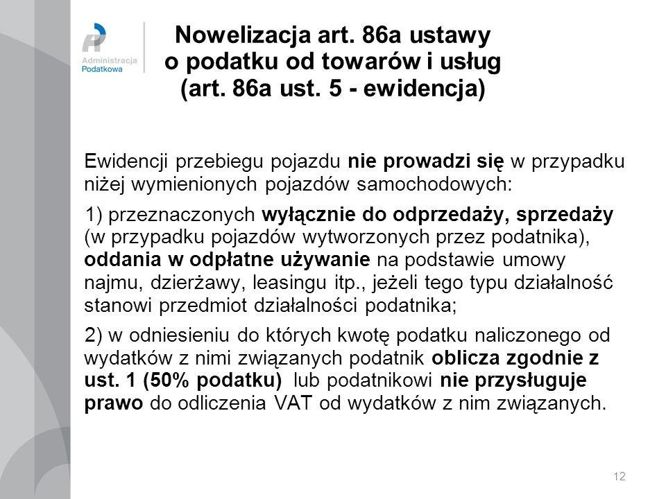 12 Nowelizacja art.86a ustawy o podatku od towarów i usług (art.