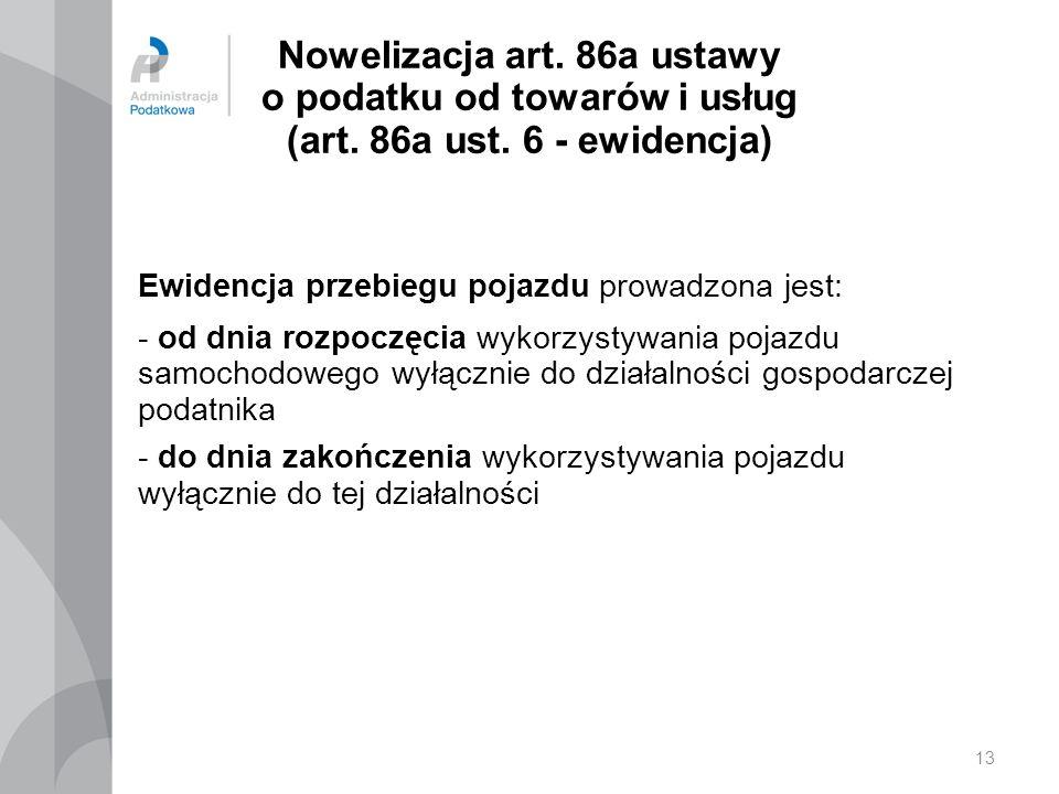 13 Nowelizacja art.86a ustawy o podatku od towarów i usług (art.