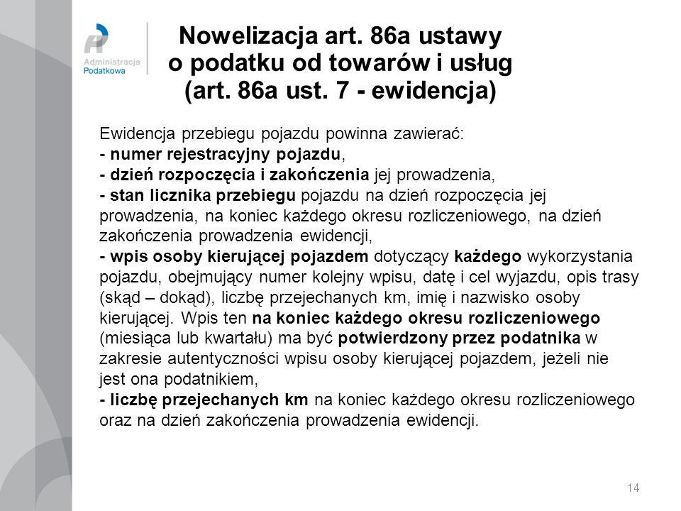 14 Nowelizacja art.86a ustawy o podatku od towarów i usług (art.