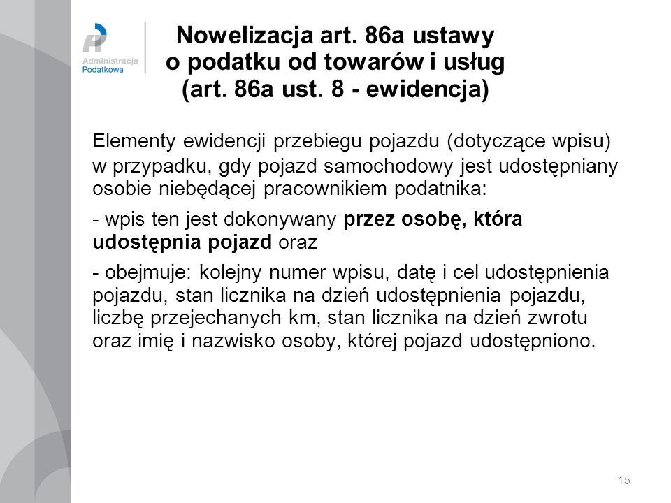 15 Nowelizacja art.86a ustawy o podatku od towarów i usług (art.
