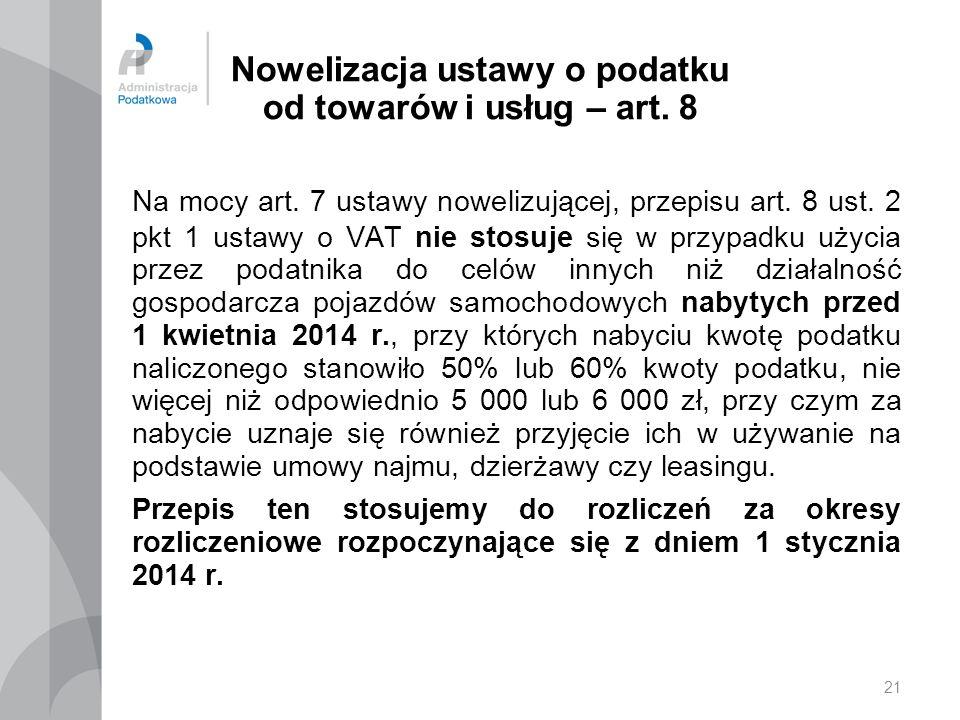 21 Nowelizacja ustawy o podatku od towarów i usług – art.