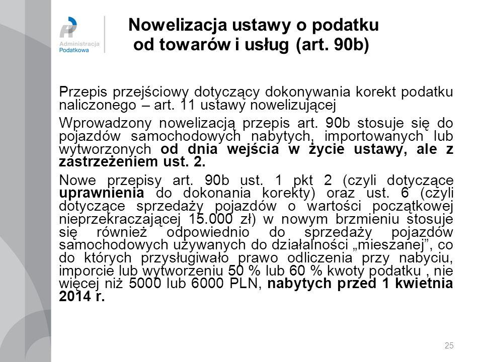 25 Nowelizacja ustawy o podatku od towarów i usług (art.