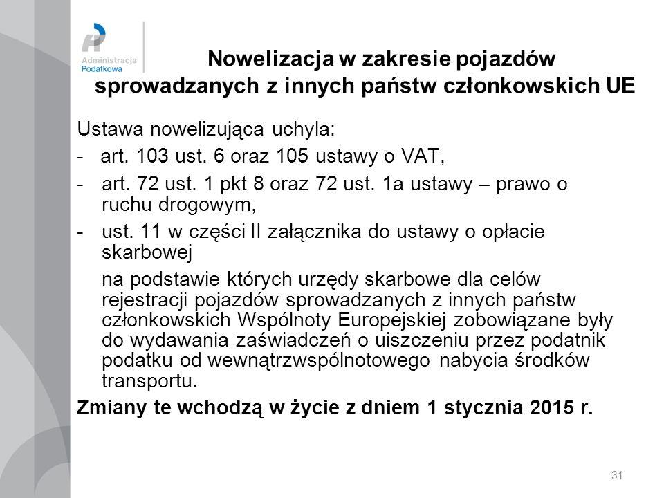 31 Nowelizacja w zakresie pojazdów sprowadzanych z innych państw członkowskich UE Ustawa nowelizująca uchyla: - art.