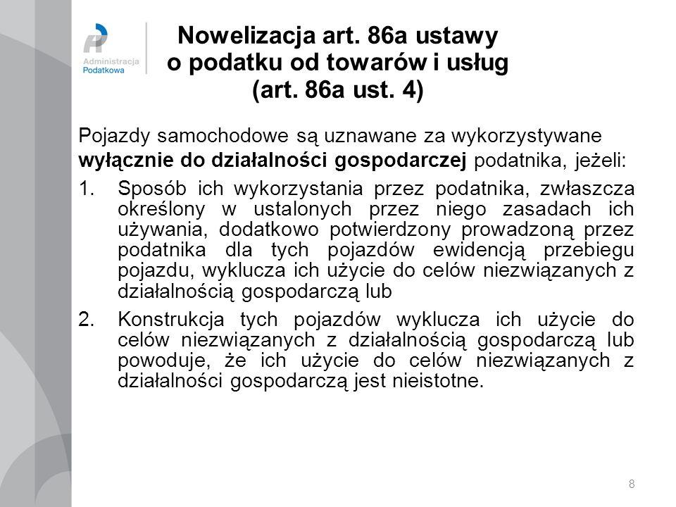 9 Nowelizacja art.86a ustawy o podatku od towarów i usług (art.