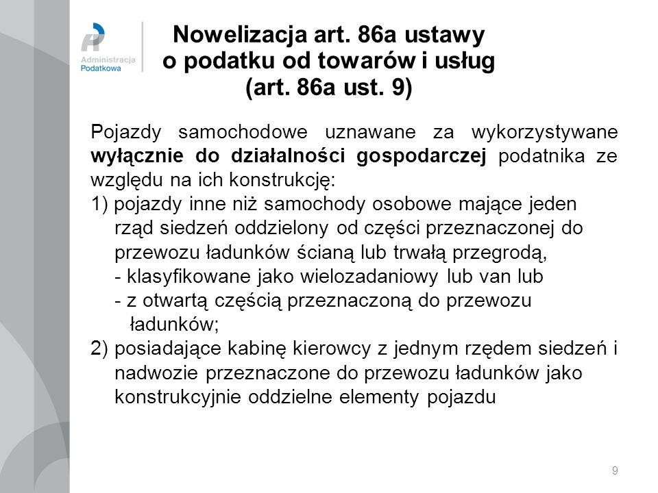 20 Nowelizacja ustawy o podatku od towarów i usług – art.