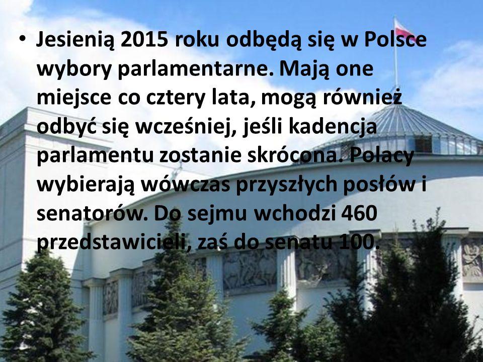Jesienią 2015 roku odbędą się w Polsce wybory parlamentarne. Mają one miejsce co cztery lata, mogą również odbyć się wcześniej, jeśli kadencja parlame