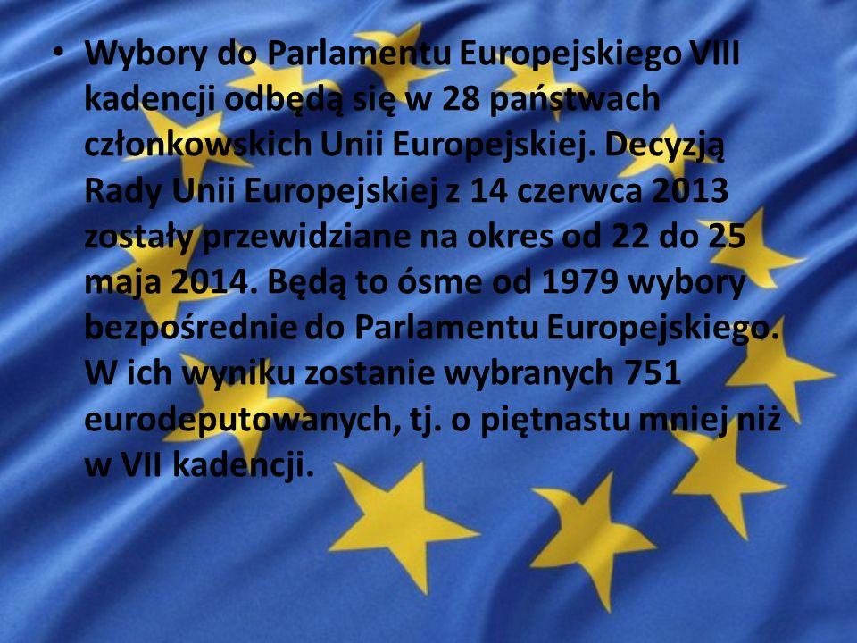 Wybory do Parlamentu Europejskiego VIII kadencji odbędą się w 28 państwach członkowskich Unii Europejskiej. Decyzją Rady Unii Europejskiej z 14 czerwc