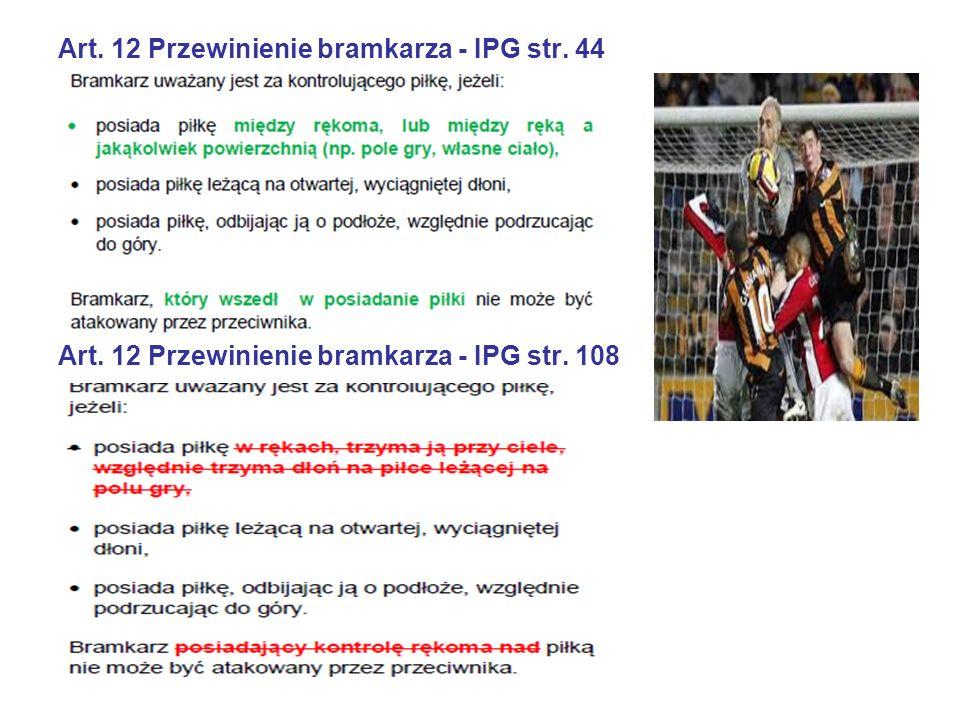 Art. 12 Przewinienie bramkarza - IPG str. 44 Art. 12 Przewinienie bramkarza - IPG str. 108