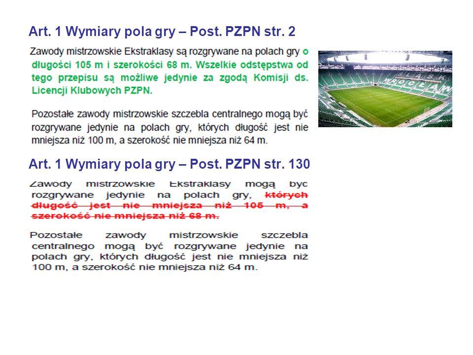 Art. 1 Wymiary pola gry – Post. PZPN str. 2 Art. 1 Wymiary pola gry – Post. PZPN str. 130