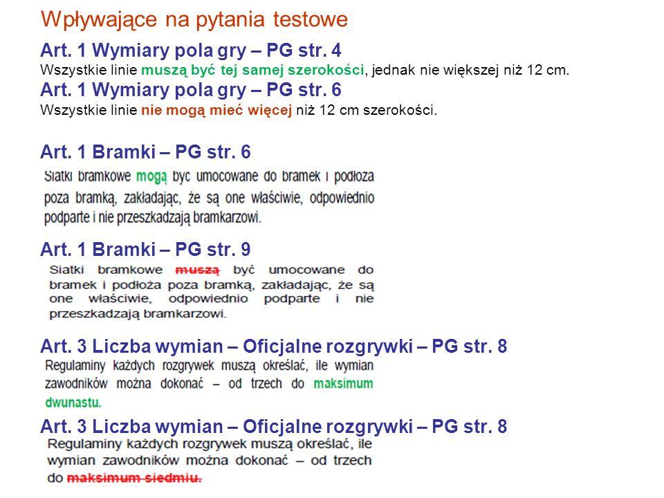 Wpływające na pytania testowe Art. 1 Wymiary pola gry – PG str.