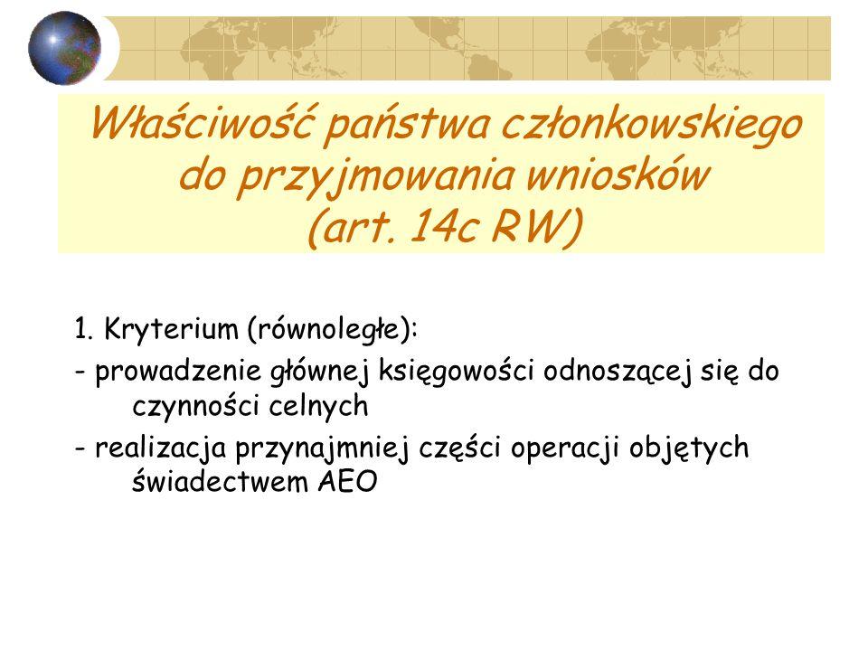 Właściwość państwa członkowskiego do przyjmowania wniosków (art. 14c RW) 1. Kryterium (równoległe): - prowadzenie głównej księgowości odnoszącej się d