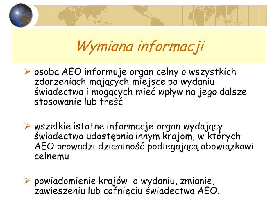 Wymiana informacji osoba AEO informuje organ celny o wszystkich zdarzeniach mających miejsce po wydaniu świadectwa i mogących mieć wpływ na jego dalsze stosowanie lub treść wszelkie istotne informacje organ wydający świadectwo udostępnia innym krajom, w których AEO prowadzi działalność podlegającą obowiązkowi celnemu powiadomienie krajów o wydaniu, zmianie, zawieszeniu lub cofnięciu świadectwa AEO.
