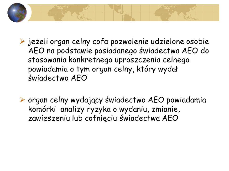 jeżeli organ celny cofa pozwolenie udzielone osobie AEO na podstawie posiadanego świadectwa AEO do stosowania konkretnego uproszczenia celnego powiadamia o tym organ celny, który wydał świadectwo AEO organ celny wydający świadectwo AEO powiadamia komórki analizy ryzyka o wydaniu, zmianie, zawieszeniu lub cofnięciu świadectwa AEO