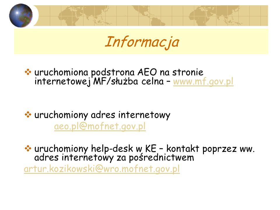 Informacja uruchomiona podstrona AEO na stronie internetowej MF/służba celna – www.mf.gov.plwww.mf.gov.pl uruchomiony adres internetowy aeo.pl@mofnet.gov.pl uruchomiony help-desk w KE – kontakt poprzez ww.