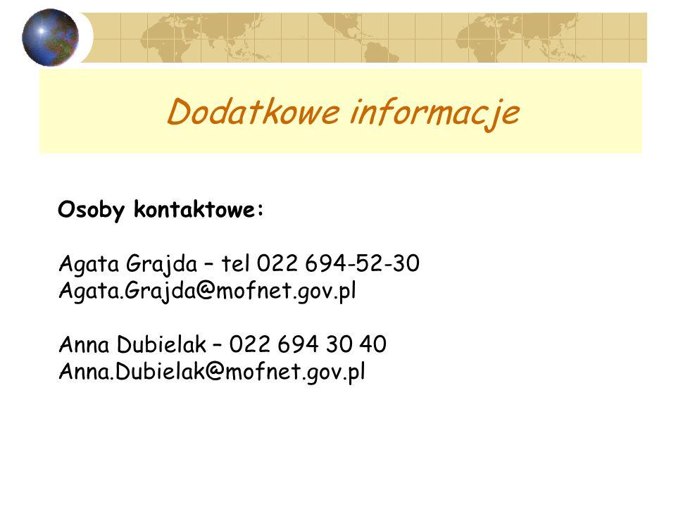 Dodatkowe informacje Osoby kontaktowe: Agata Grajda – tel 022 694-52-30 Agata.Grajda@mofnet.gov.pl Anna Dubielak – 022 694 30 40 Anna.Dubielak@mofnet.gov.pl