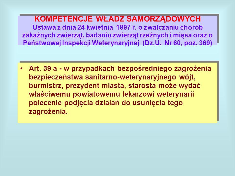 KOMPETENCJE WŁADZ SAMORZĄDOWYCH Ustawa z dnia 24 kwietnia 1997 r.