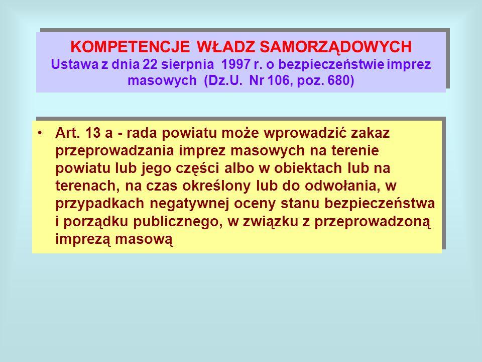KOMPETENCJE WŁADZ SAMORZĄDOWYCH Ustawa z dnia 22 sierpnia 1997 r. o bezpieczeństwie imprez masowych (Dz.U. Nr 106, poz. 680) Art. 13 a - rada powiatu