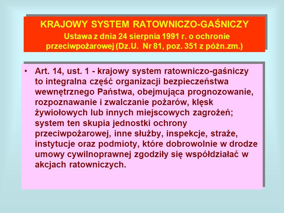 KRAJOWY SYSTEM RATOWNICZO-GAŚNICZY Ustawa z dnia 24 sierpnia 1991 r. o ochronie przeciwpożarowej (Dz.U. Nr 81, poz. 351 z późn.zm.) Art. 14, ust. 1 -
