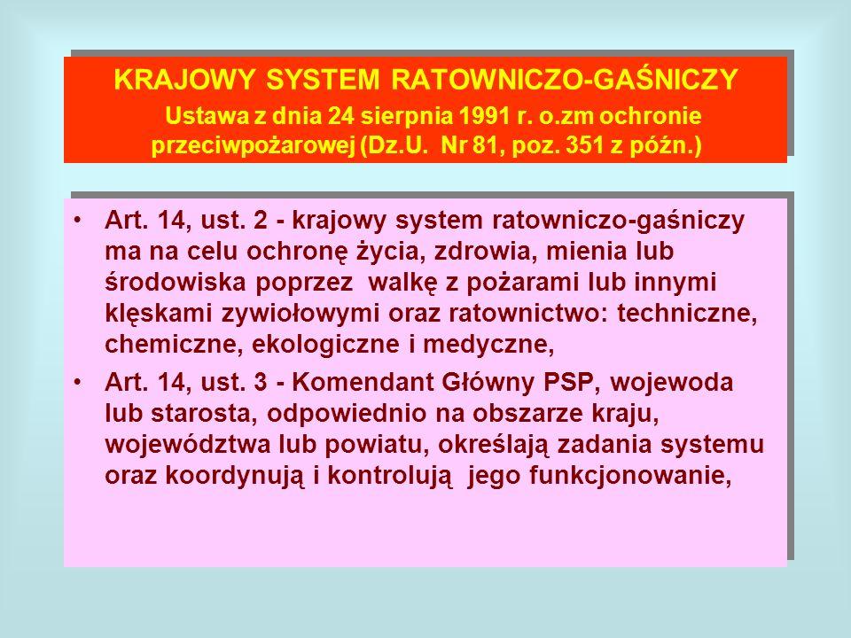 KRAJOWY SYSTEM RATOWNICZO-GAŚNICZY Ustawa z dnia 24 sierpnia 1991 r. o.zm ochronie przeciwpożarowej (Dz.U. Nr 81, poz. 351 z późn.) Art. 14, ust. 2 -