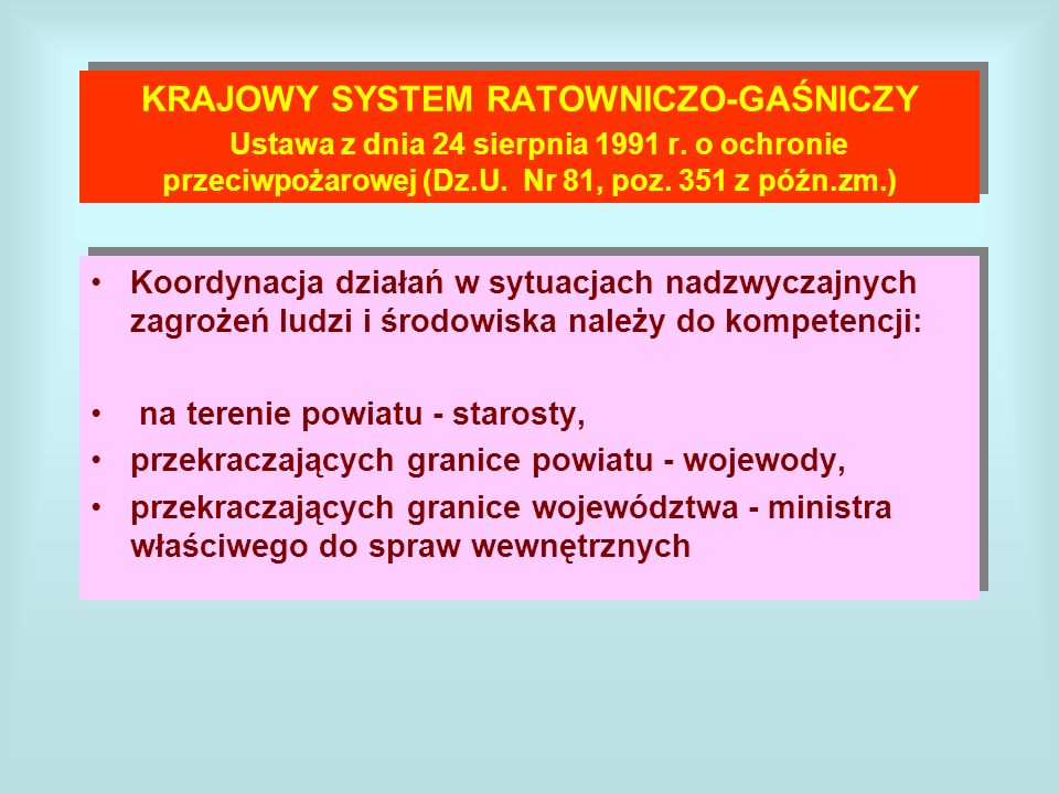 KRAJOWY SYSTEM RATOWNICZO-GAŚNICZY Ustawa z dnia 24 sierpnia 1991 r. o ochronie przeciwpożarowej (Dz.U. Nr 81, poz. 351 z późn.zm.) Koordynacja działa