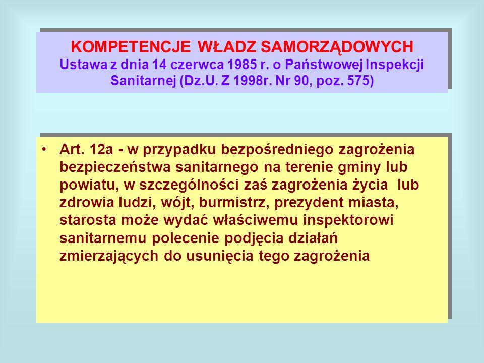 KOMPETENCJE WŁADZ SAMORZĄDOWYCH Ustawa z dnia 14 czerwca 1985 r. o Państwowej Inspekcji Sanitarnej (Dz.U. Z 1998r. Nr 90, poz. 575) Art. 12a - w przyp