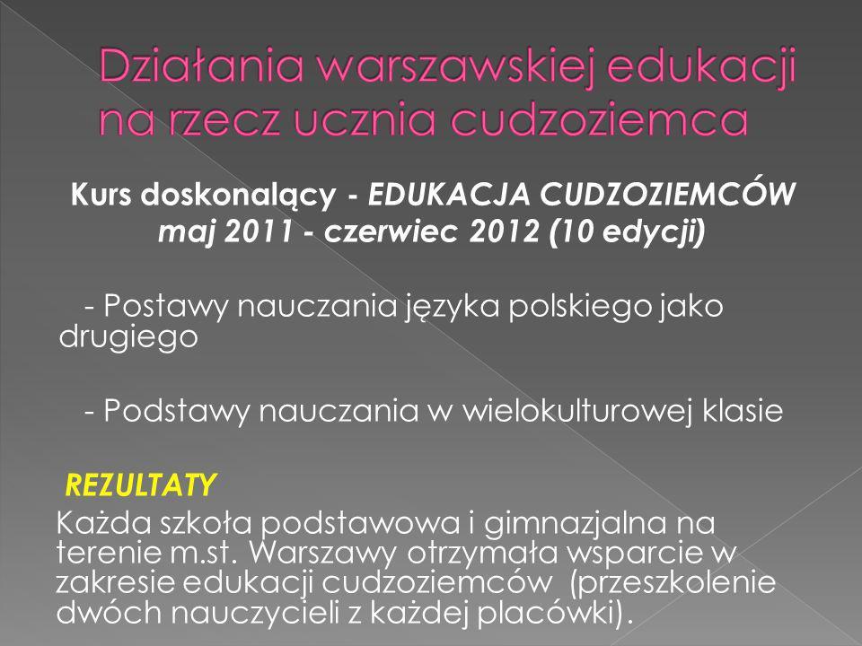 Kurs doskonalący - EDUKACJA CUDZOZIEMCÓW maj 2011 - czerwiec 2012 (10 edycji) - Postawy nauczania języka polskiego jako drugiego - Podstawy nauczania