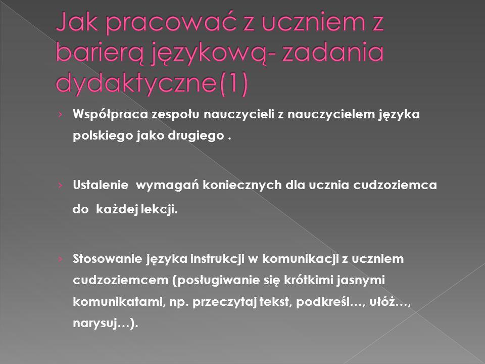 Współpraca zespołu nauczycieli z nauczycielem języka polskiego jako drugiego. Ustalenie wymagań koniecznych dla ucznia cudzoziemca do każdej lekcji. S