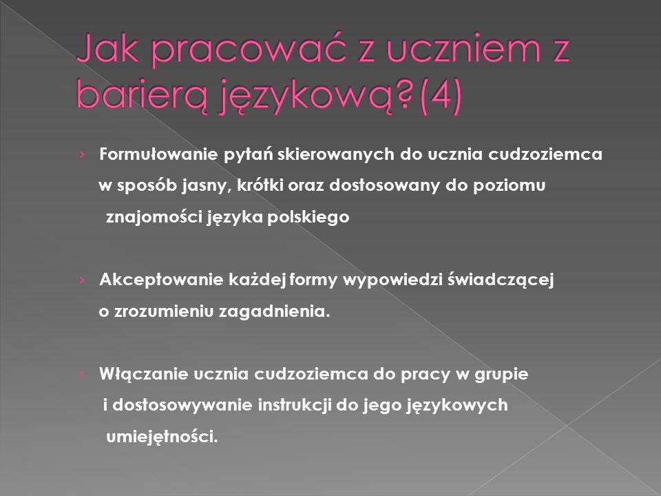 Formułowanie pytań skierowanych do ucznia cudzoziemca w sposób jasny, krótki oraz dostosowany do poziomu znajomości języka polskiego Akceptowanie każd